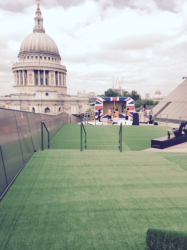 Corporate rooftop astroturf area overlooking St Pauls Cathedral